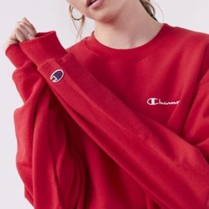 CHAMPION REVERSE WAVE red crewneck sweatshirt